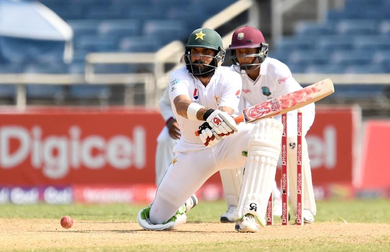 Pakistan's captain Misbah-ul-Haq plays a shot on day four of the first Test match between West Indies and Pakistan at the Sabina Park in Kingston, Jamaica, on April 24, 2017 (AFP Photo/Jewel SAMAD)