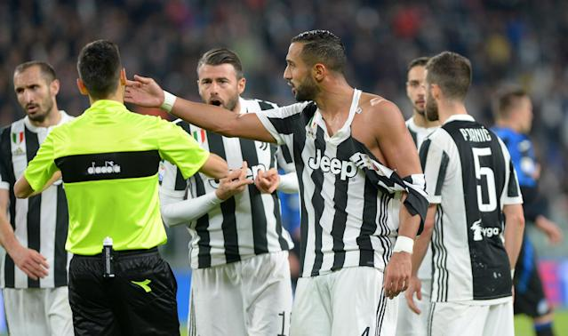 Soccer Football - Serie A - Juventus vs Atalanta - Allianz Stadium, Turin, Italy - March 14, 2018 Juventus' Medhi Benatia with a ripped shirt REUTERS/Massimo Pinca