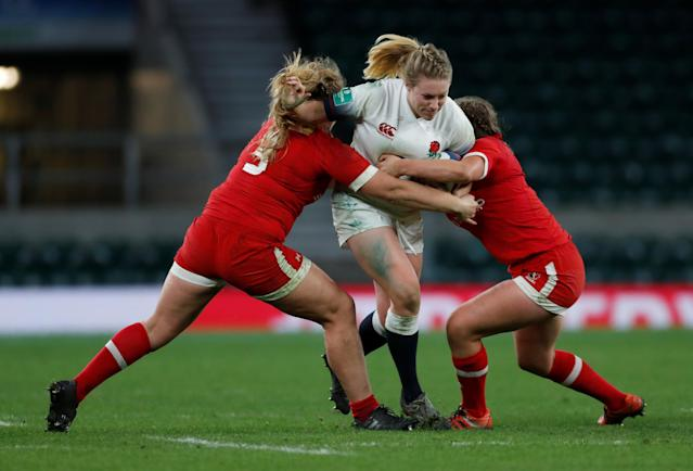 Rugby Union - Women's International - England vs Canada - Twickenham Stadium, London, Britain - November 25, 2017 England's Heather Kerr is tackled by Canada's Olivia DeMerchant Action Images via Reuters/Paul Childs