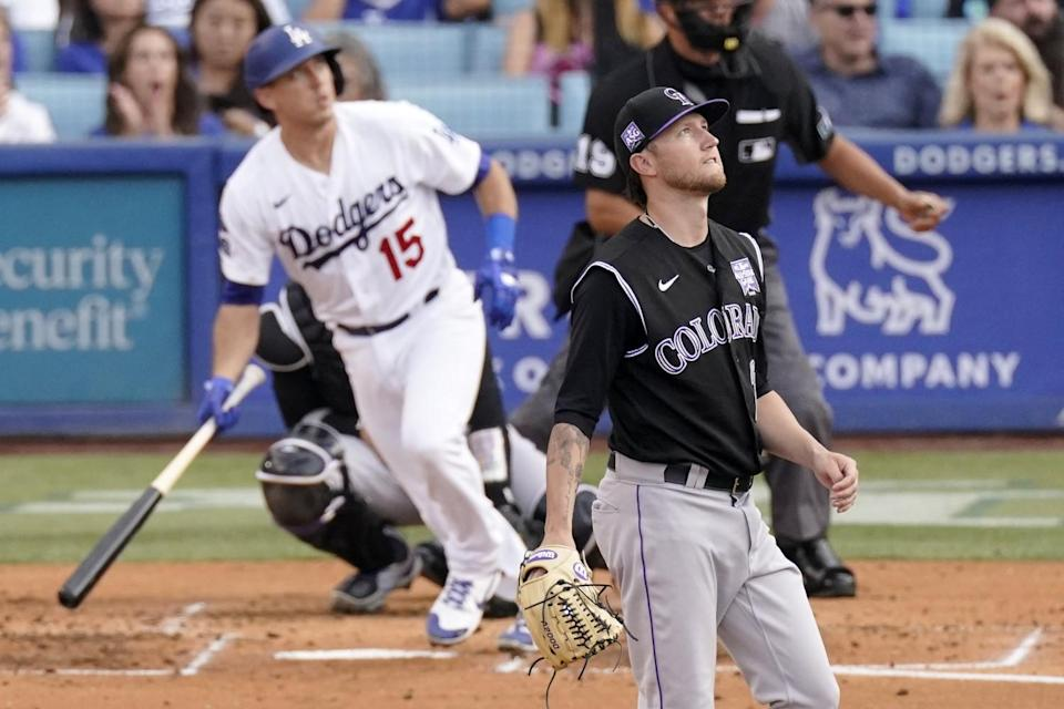 The Dodgers' Austin Barnes runs after homering off Rockies starter Kyle Freeland in the second inning.