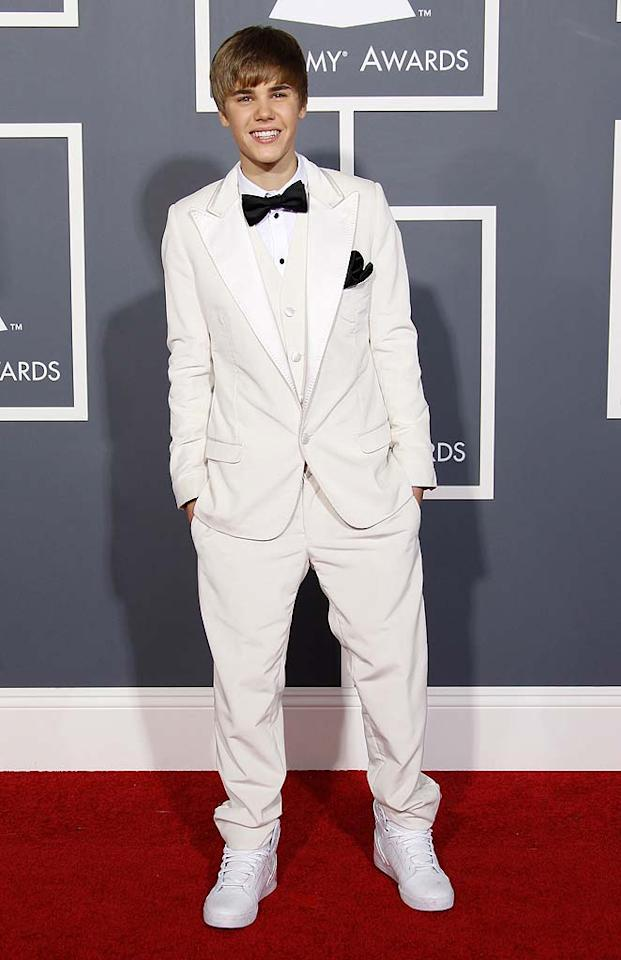 8. Justin Bieber -- in an ill-fitting, cream-colored Gucci suit and mismatched, white high-top sneakers -- at the 53rd Annual Grammy Awards. (2/13/2011)