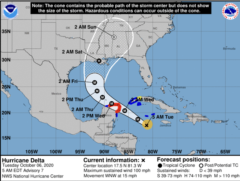 Hurricane Delta rapidly intensified into a Category 2 hurricane early Tuesday and is forecast to bring extremely dangerous hurricane conditions to the Northeastern Yucatan Peninsula by early Wednesday, according to the National Hurricane Center.