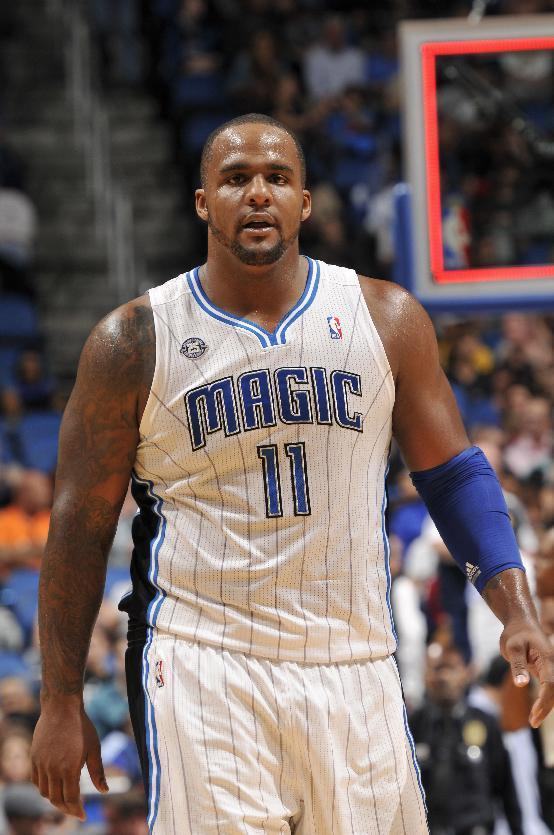 ORLANDO, FL - FEBRUARY 9: Glen Davis #11 of the Orlando Magic during a game against the Indiana Pacers on February 9, 2014 at Amway Center in Orlando, Florida. (Photo by Fernando Medina/NBAE via Getty Images)