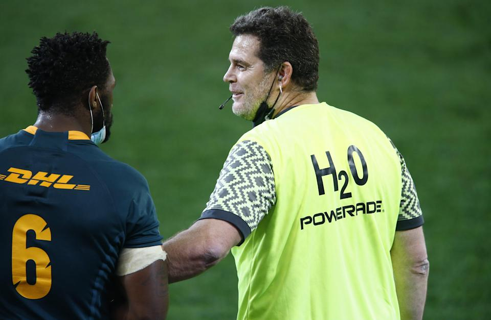 South Africa's director of rugby Rassie Erasmus (right) is to face an independent misconduct hearing (Steve Haag/PA) (PA Wire)