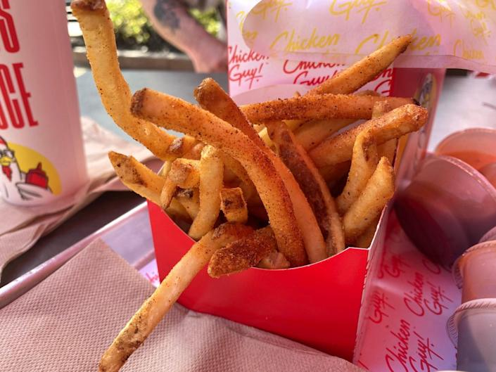 French fries from Guy Fieri's Chicken Guy! restaurant at Disney Springs.