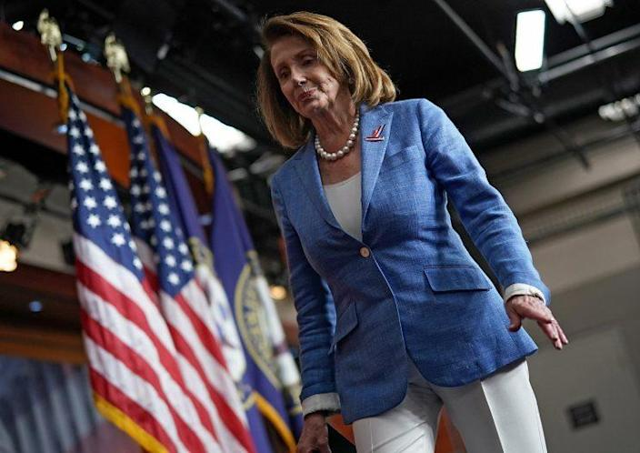 House Democratic leader Nancy Pelosi leaving her weekly press conference at the Capitol on June 22. (Photo: Win McNamee/Getty Images)