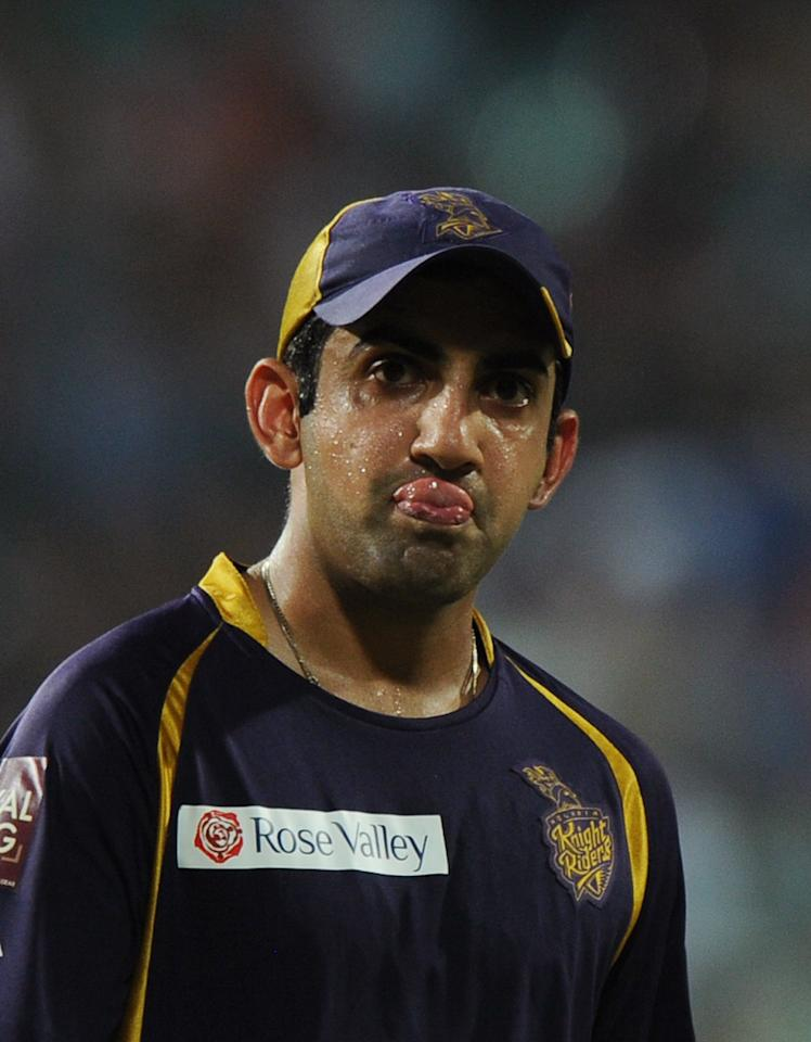 Kolkata Knight Riders captain Gautam Gambhir reacts after his teams's loss against Chennai Super Kings at the end of the IPL Twenty20 cricket match between Kolkata Knight Riders and Chennai Super Kings at The Eden Gardens in Kolkata on May 14, 2012.  RESTRICTED TO EDITORIAL USE. MOBILE USE WITHIN NEWS PACKAGE.  AFP PHOTO/Dibyangshu SARKARDIBYANGSHU SARKAR/AFP/GettyImages