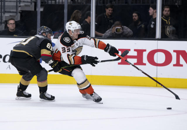Vegas Golden Knights center Jonathan Marchessault (81) battles for the puck against Anaheim Ducks right wing Jakob Silfverberg (33) during the first period of an NHL hockey game Wednesday, Nov. 14, 2018, in Las Vegas. (AP Photo/Eric Jamison)
