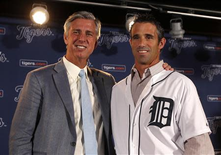 Detroit Tigers General Manager Dave Dombrowski and newly named Tigers manager Brad Ausmus pose together during a press conference in Detroit
