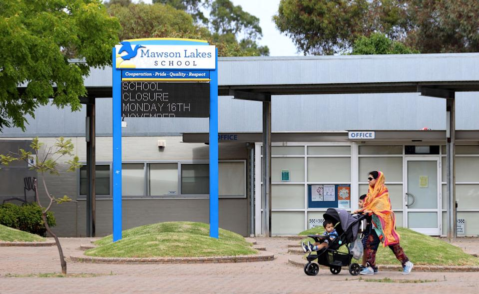 General view of the Mawson Lakes school, closed after a positive Covid-19 case was detected at the school in Adelaide.