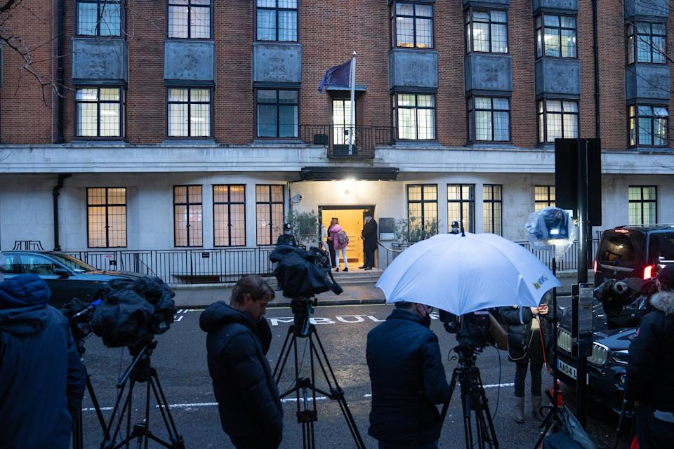 Members of the media outside the King Edward VII Hospital in London