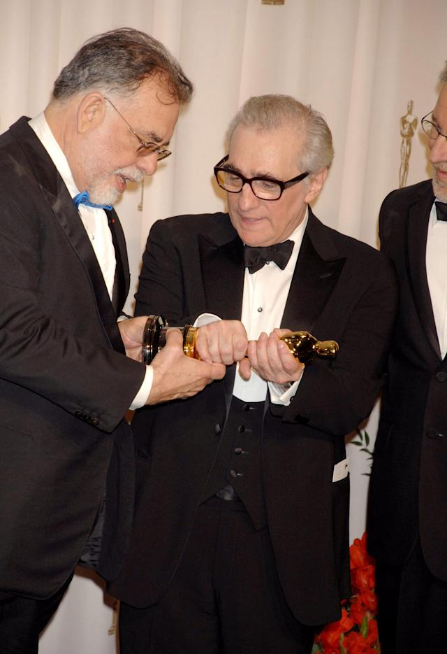 Francis Ford Coppola, presenter, and Martin Scorsese, winner Best Director for The Departed (Photo by Jeff Kravitz/FilmMagic, Inc)