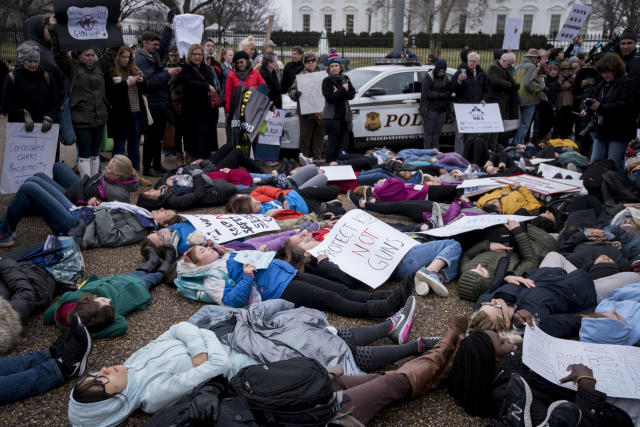 <p>Washington, D.C., area students and supporters protest against gun violence with a lie-in outside of the White House on Monday, Feb. 19, 2018, after 17 people were killed in a shooting at Marjory Stoneman Douglas High School in Parkland, Fla., last week. (Photo: Bill Clark/CQ Roll Call) </p>