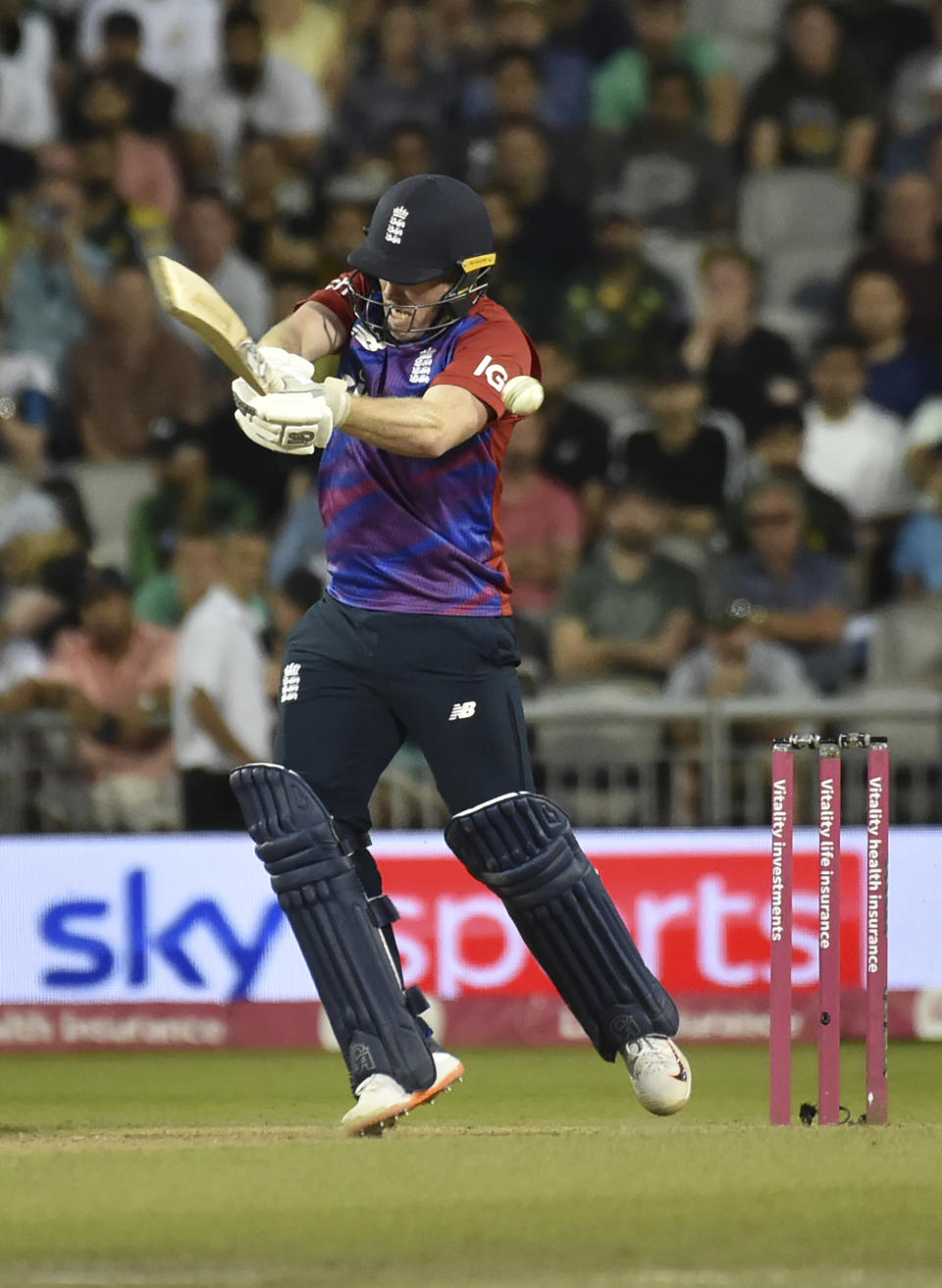 England captain Eoin Morgan bats during the third Twenty20 international cricket match between England and Pakistan at Old Trafford in Manchester, Tuesday, July 20, 2021. (AP Photo/Rui Vieira)