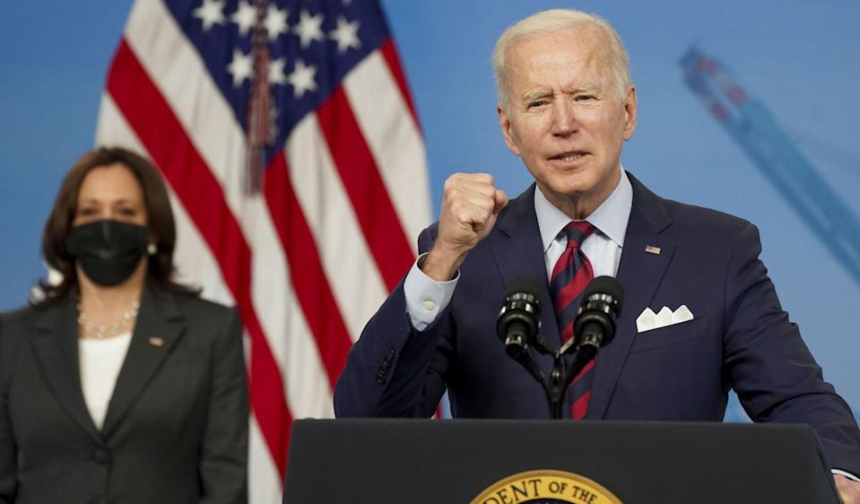 US President Joe Biden, with Vice-President Kamala Harris behind him, says the plan's passage in Congress is urgent to keep the US competitive with China. Photo: UPI/Bloomberg