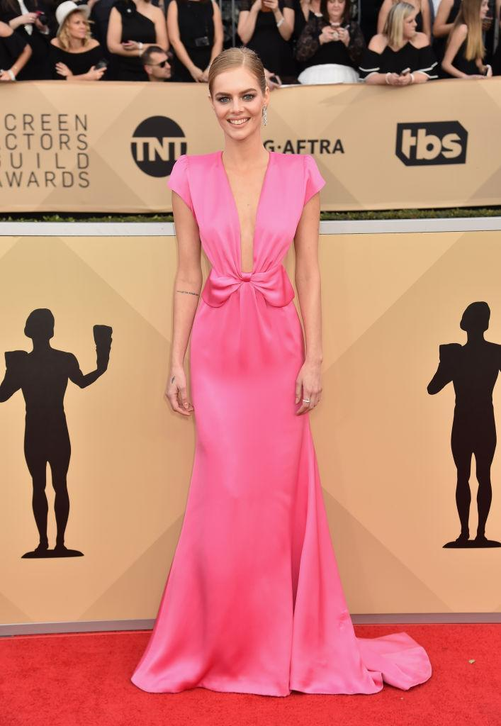 <p>The bright pink dress featured a bow-detail around the waist. (Photo: Getty Images) </p>