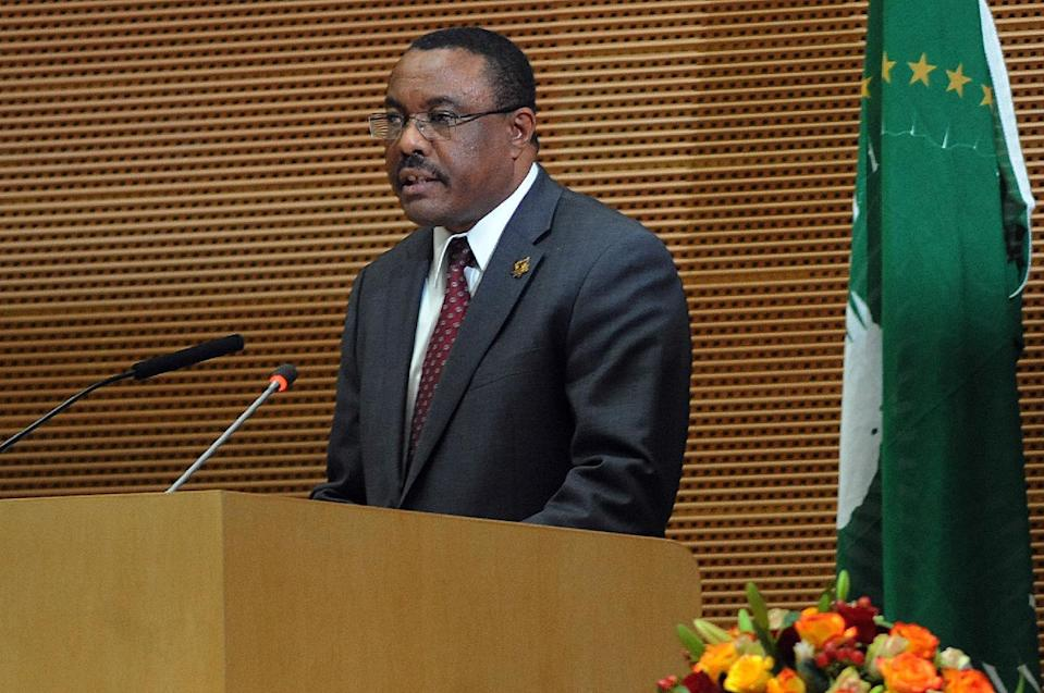 Ethiopian Prime Minister Hailemariam Desalegn addresses members of the African Union in Addis Ababa on January 27, 2013 (AFP Photo/Simon Maina)