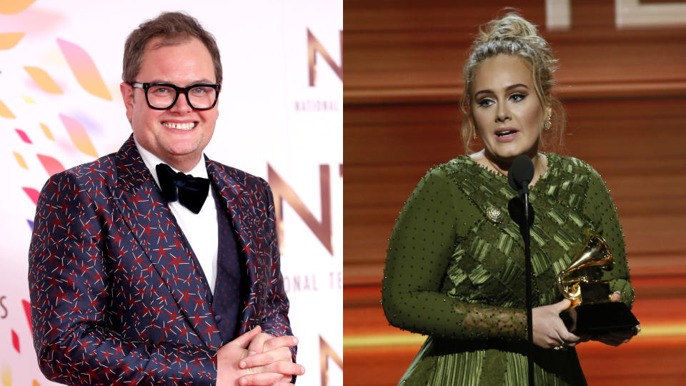 Alan Carr and Adele have been friends for many years. (Mike Marsland/WireImage/Monty Brinton/CBS/Getty)