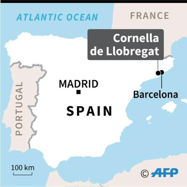 A map locating Cornella de Llobregat in Spain, where a man armed with a knife was killed while attacking a police station