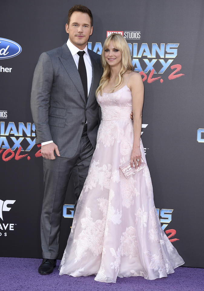 <p>Mr. and Mrs. Star-Lord at the world premiere of 'Guardians of the Galaxy Vol. 2' at the Dolby Theatre in Hollywood on April 19, 2017. (Photo: Jordan Strauss/Invision/AP) </p>