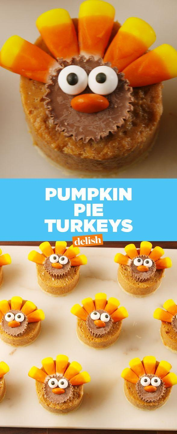 "<p>Pumpkin pie just got so much sweeter, and these bite-sized pieces topped with Reese's, candy corn, edible eyes, and M&M's are the cutest way to make the Thanksgiving staple.</p><p>Get the recipe from <a href=""https://www.delish.com/cooking/recipe-ideas/recipes/a56500/pumpkin-pie-turkeys-recipe/"" rel=""nofollow noopener"" target=""_blank"" data-ylk=""slk:Delish"" class=""link rapid-noclick-resp"">Delish</a>.</p>"