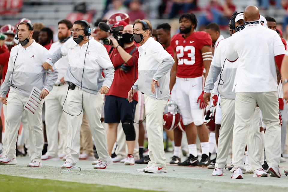 TUSCALOOSA, AL - NOVEMBER 21: Head coach Nick Saban of the Alabama Crimson Tide looks on from the sideline during the game against the Kentucky Wildcats at Bryant-Denny Stadium on November 21, 2020 in Tuscaloosa, Alabama. (Photo by UA Athletics/Collegiate Images/Getty Images)
