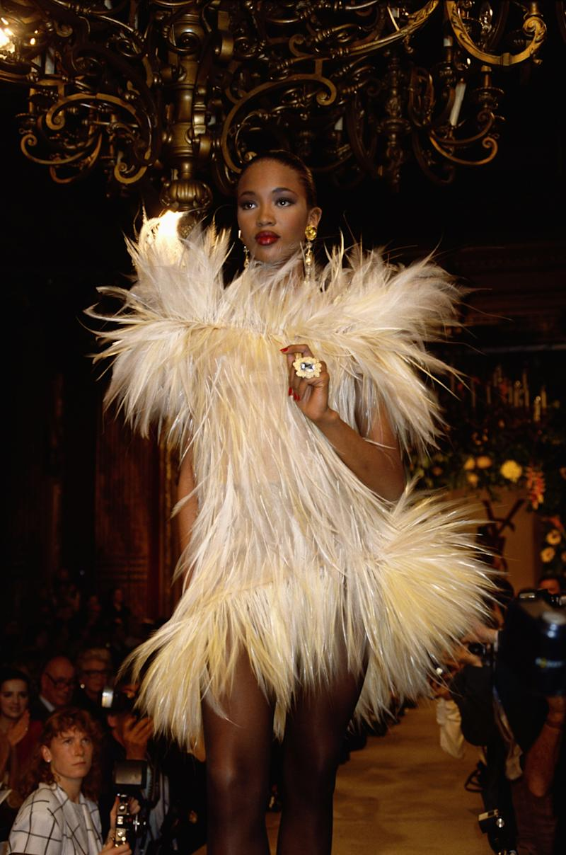 Naomi Campbell walks the runway of the Yves Saint Laurent fall/winter 1987 couture show in Paris, 1987. Photo courtesy of Getty Images.