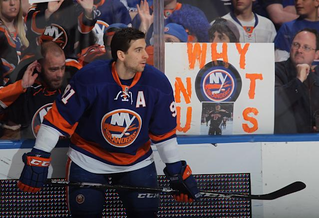 UNIONDALE, NY - MAY 05: John Tavares #91 of the New York Islanders skates in warmups priot to the game against the Pittsburgh Penguins in Game Three of the Eastern Conference Quarterfinals during the 2013 NHL Stanley Cup Playoffs at the Nassau Veterans Memorial Coliseum on May 5, 2013 in Uniondale, New York. (Photo by Bruce Bennett/Getty Images)