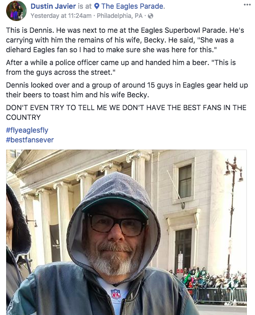 Eagles fans came together at the team's Super Bowl victory parade. (Screengrab via Dustin Javier on Facebook)