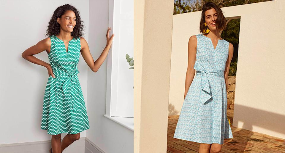 The Boden dress comes in six summery prints. (Boden)