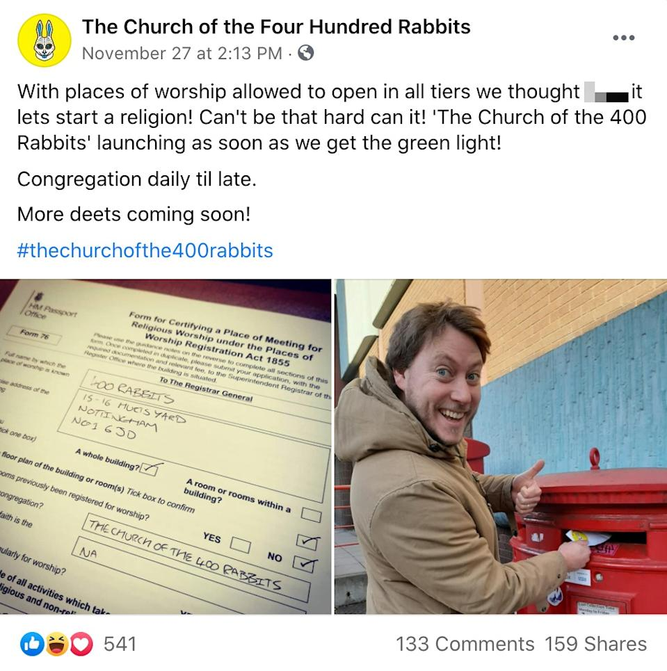 James Aspell, owner of 400 Rabbits Tequila and Mezcal Cocktail Bar in Nottingham, has applied for it to become a place of worship. (Facebook/400 Rabbits)