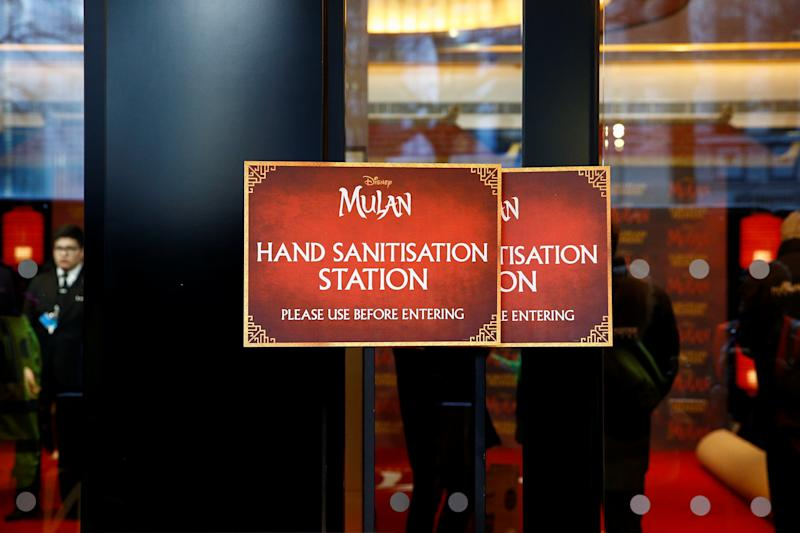"A hand sanitisation station is seen at the European premiere for the film ""Mulan"", in London, Britain March 12, 2020. REUTERS/Henry Nicholls"