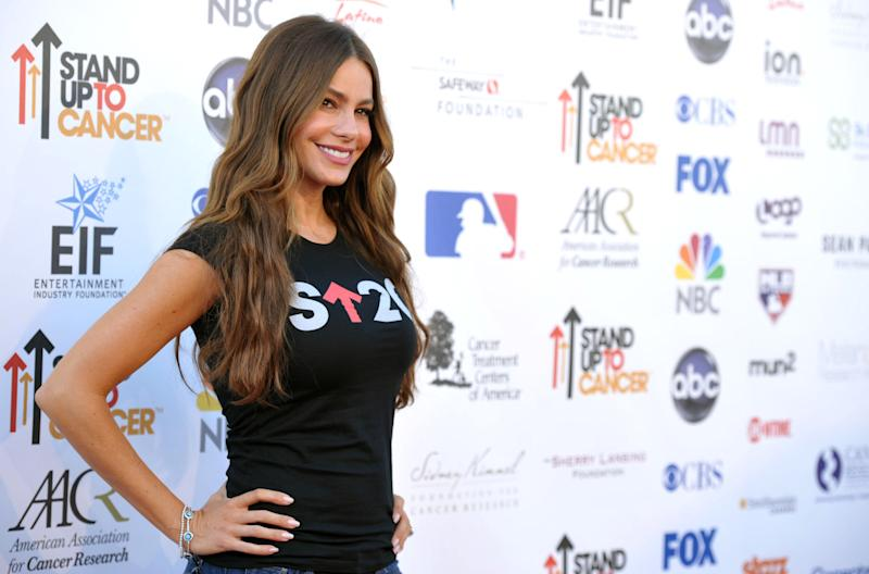 """Actress Sofia Vergara attends the """"Stand Up to Cancer"""" event at the Shrine Auditorium on Friday, Sept. 7, 2012 in Los Angeles. The initiative aimed to raise funds to accelerate innovative cancer research by bringing new therapies to patients quickly. (Photo by John Shearer/Invision/AP)"""