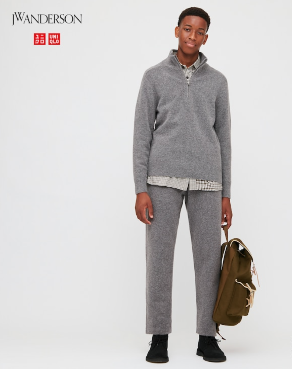 JW Anderson x Uniqlo Souffle Yarn Relaxed Pants in 06 Gray (Photo via Uniqlo)