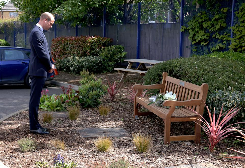 The Duke of Cambridge lays a wreath in memory of Sergeant Matt Ratana, who was killed in the line of duty, during a visit to Croydon Custody Centre. Picture date: Wednesday May 12, 2021.