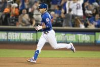 New York Mets' Michael Conforto round the bases after hitting a home run during the seventh inning in the second game of a baseball doubleheader against the Miami Marlins, Monday, Aug. 5, 2019, in New York. (AP Photo/Mary Altaffer)