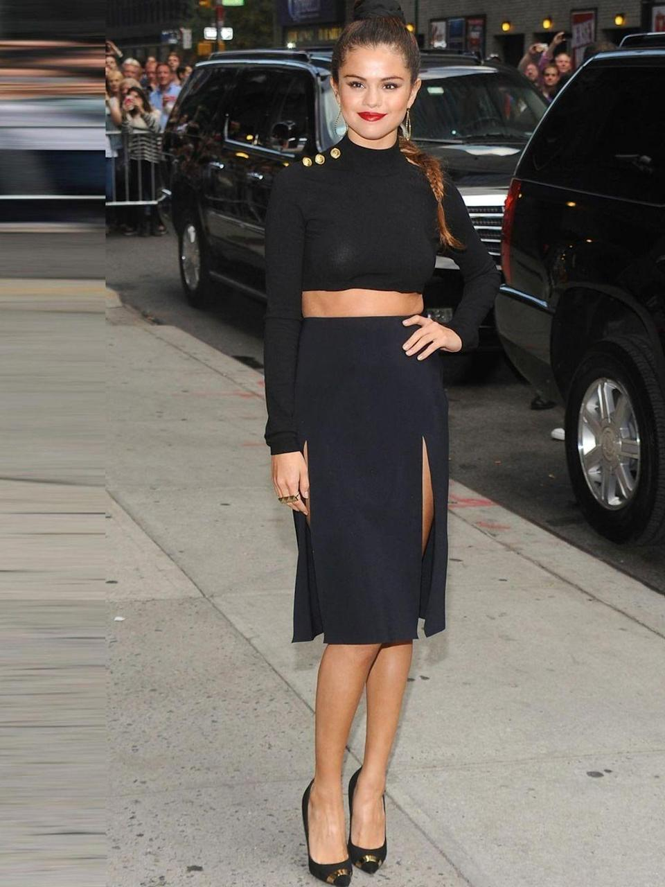 <p>Selena Gomez wearing Versus to the 'Late Show with David Letterman', New York, October 2013.</p>