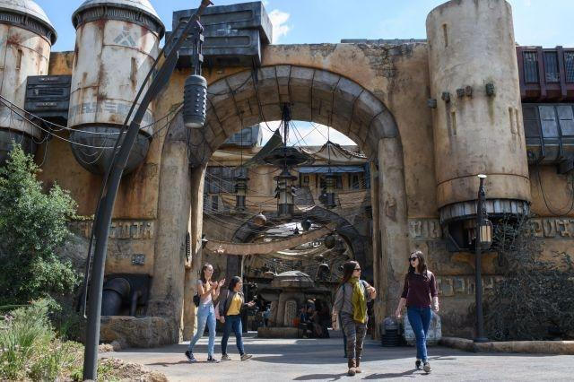 Black Spire Outpost marketplace at Star Wars: Galaxy's Edge at Disneyland Resort,  a  collection of merchant shops and stalls filled with authentic Star Wars creations