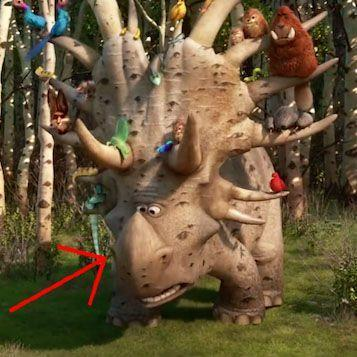 """<p>In <em>The Good Dinosaur</em>, Arlo also comes across a statuesque styracosaurus named Forrest Woodbush. If Forrest looks familiar, it's because <a href=""""https://www.slashfilm.com/inside-out-good-dinosaur-easter-egg/"""" rel=""""nofollow noopener"""" target=""""_blank"""" data-ylk=""""slk:he resembles a roadside dinosaur attraction Riley's family stopped at"""" class=""""link rapid-noclick-resp"""">he resembles a roadside dinosaur attraction Riley's family stopped at</a> and photographed, as seen in one of Riley's memories in <em>Inside Out</em>.  </p>"""
