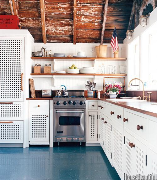 """<div class=""""caption-credit""""> Photo by: Christopher Baker</div><div class=""""caption-title"""">Patriotic Kitchen Details</div><p> A charming cottage on Nantucket Harbor, decorated by Gary McBournie, features simple plank flooring painted Benjamin Moore's Deep Ocean and spattered in red, white, and blue. A tiny flag tucked into a corner hangs above a blue-and-white striped pitcher with fresh flowers. </p> <p> <b>See more:</b> </p> <p> <a rel=""""nofollow noopener"""" href=""""http://www.housebeautiful.com/shopping/best/4th-of-july-entertaining-ideas?link=emb&dom=yah_life&src=syn&con=blog_housebeautiful&mag=hbu"""" target=""""_blank"""" data-ylk=""""slk:11 Chic Finds for 4th of July Party"""" class=""""link rapid-noclick-resp""""><b>11 Chic Finds for 4th of July Party</b></a> <br> <br> <a rel=""""nofollow noopener"""" href=""""http://www.housebeautiful.com/decorating/home-makeovers/summer-home-decorating-ideas?link=emb&dom=yah_life&src=syn&con=blog_housebeautiful&mag=hbu"""" target=""""_blank"""" data-ylk=""""slk:50+ Easy Summer Decorating Ideas"""" class=""""link rapid-noclick-resp""""><b>50+ Easy Summer Decorating Ideas</b></a> </p>"""