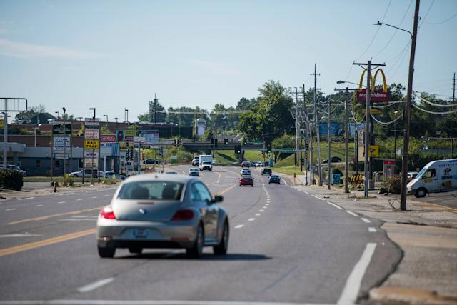 West Florissant Avenue in Ferguson, Missouri, appeared calm lastweek. But it was the center of much of the 2014 unrest overthe shooting death of Michael Brown.