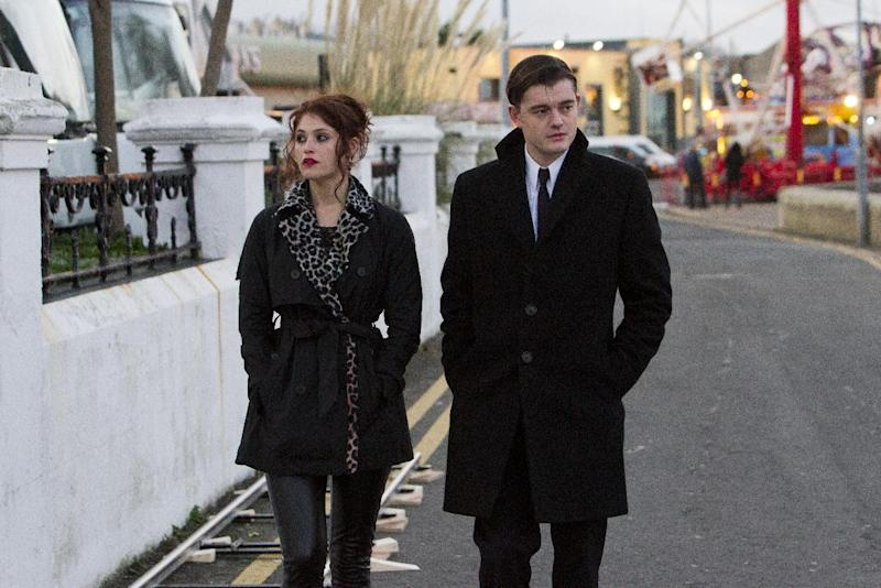 "This film image released by IFC Films shows Gemma Arterton, left, and Sam Riley in a scene from ""Byzantium."" (AP Photo/IFC Films, Patrick Redmond)"