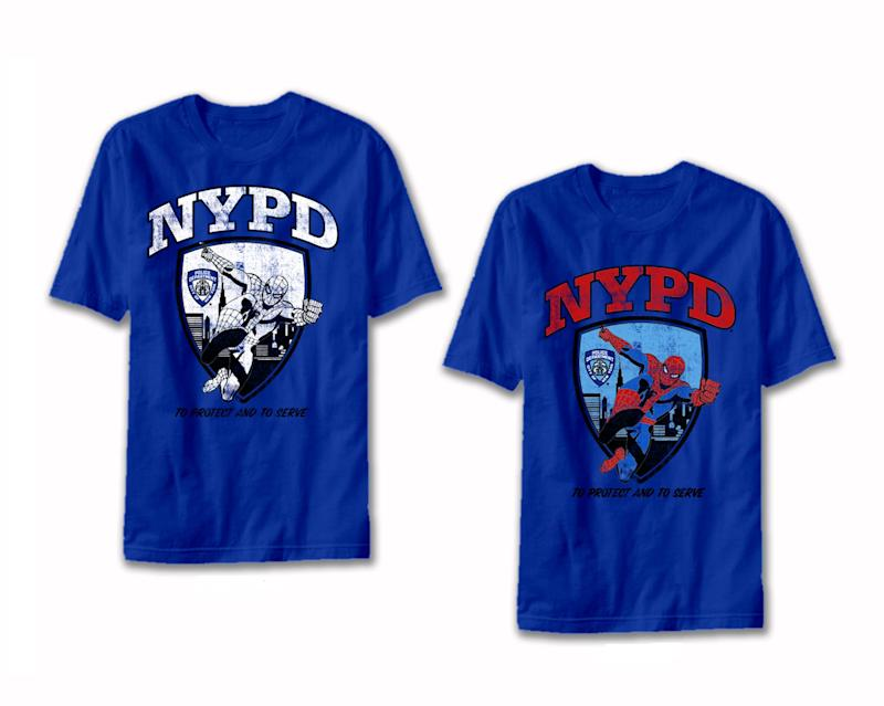 In this product image released by Marvel Entertainment LLC, comic character Spider-Man and the NYPD insignia are shown on Marvel merchandise T-shirts. Marvel characters will pair with New York police, fire and sanitation departments as well as the city's taxi and limousine commission, amid backdrops showing some of the city's landmarks in a merchandising effort to expands its presence beyond comic books, films and games. (AP Photo/Marvel Entertainment LLC)