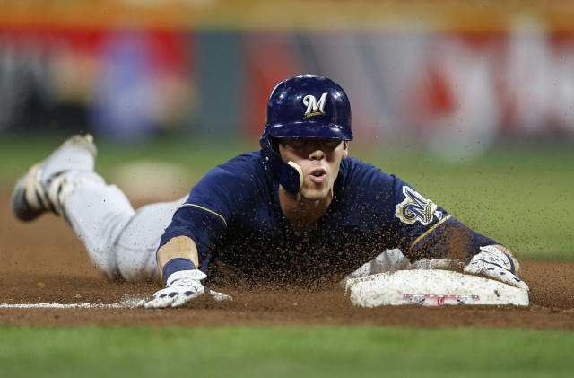 Christian Yelich is on pace for a career year in his first season with the Brewers. (AP Photo)