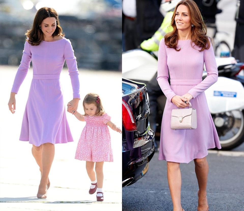 <p>The Duchess of Cambridge first wore this simple lavender Emilia Wickstead dress for an official visit to Germany in July 2017, later rewearing the look to the Global Ministerial Health Summit in October 2018. </p>