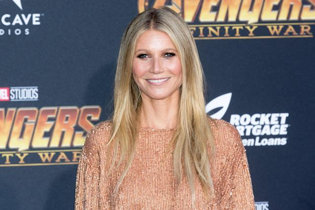 "Gwyneth Paltrow, on the red carpet in April, says seeing footage of Harvey Weinstein's arrest was ""just stunning to me."" (Photo by Greg Doherty/Patrick McMullan via Getty Images)"