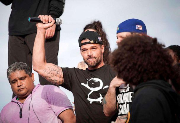PHOTO: Ricky Martin gestures after speaking during a demonstration demanding Governor Ricardo Rossello's resignation in San Juan, Puerto Rico, July 17, 2019. (Eric Rojas/AFP/Getty Images)