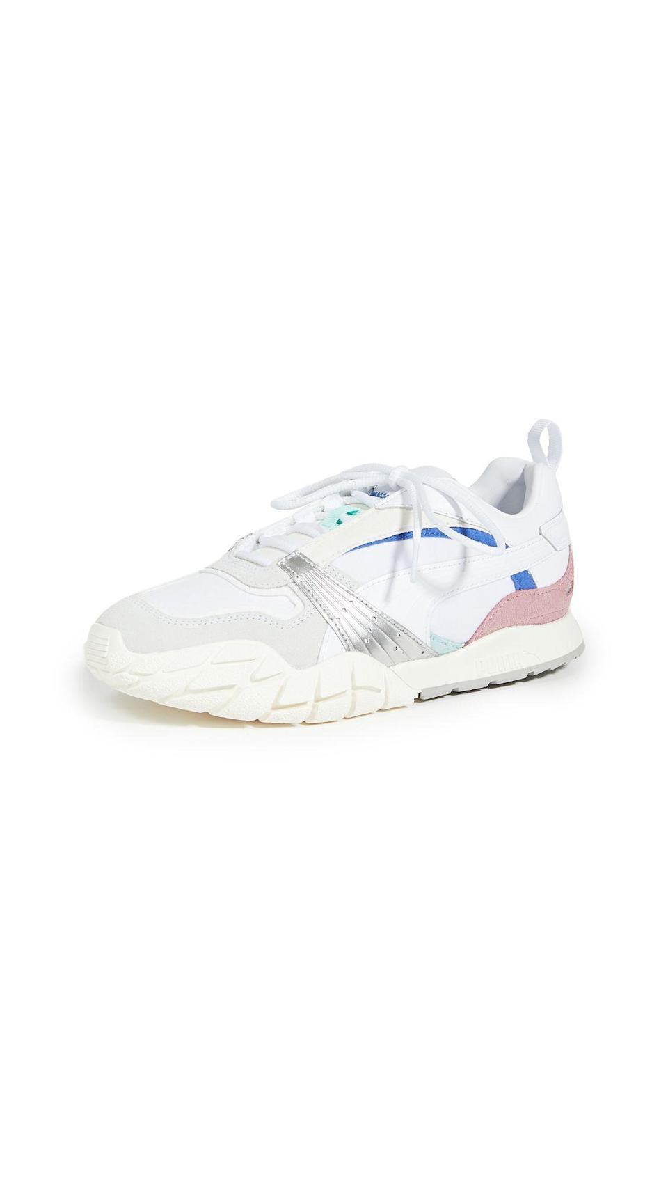 """<p><strong>PUMA</strong></p><p>shopbop.com</p><p><a href=""""https://go.redirectingat.com?id=74968X1596630&url=https%3A%2F%2Fwww.shopbop.com%2Fkyron-awakening-sneakers-puma%2Fvp%2Fv%3D1%2F1518392219.htm&sref=https%3A%2F%2Fwww.harpersbazaar.com%2Ffashion%2Ftrends%2Fg34632594%2Fshopbop-holiday-sale%2F"""" rel=""""nofollow noopener"""" target=""""_blank"""" data-ylk=""""slk:Shop Now"""" class=""""link rapid-noclick-resp"""">Shop Now</a></p><p><strong><del>$90</del> $63 (34% off)</strong> </p><p>Add some sporty flare to your daily sanity walks. <br></p>"""
