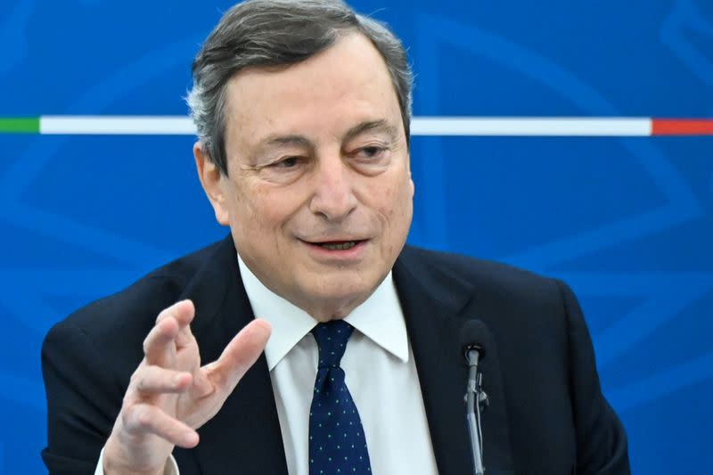 FILE PHOTO: Italy's Prime Minister Mario Draghi speaks during a news conference after a cabinet meeting in Rome