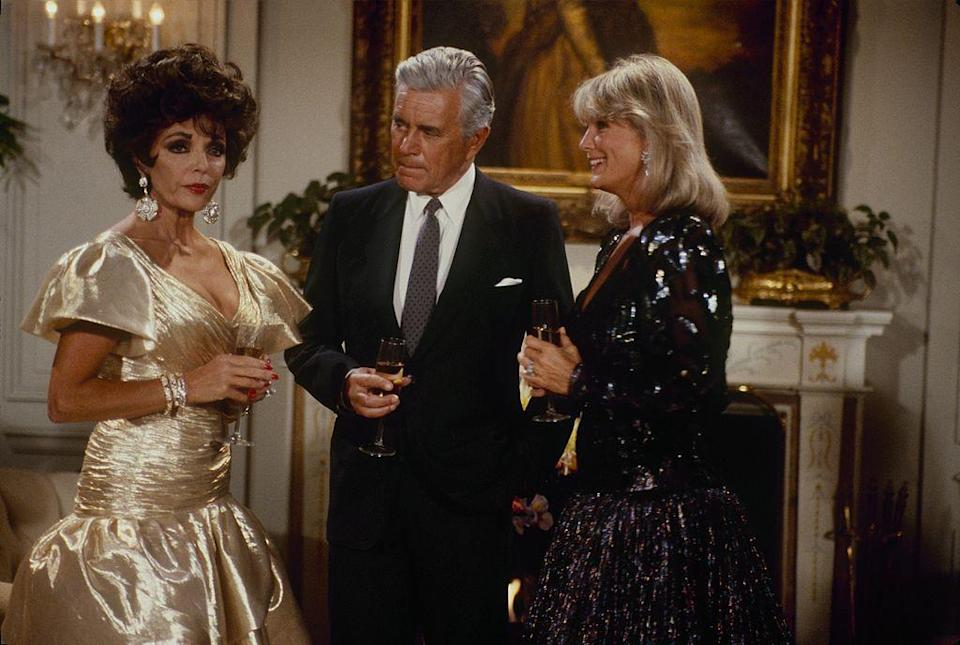 Joan Collins, John Forsythe and Linda Evans star in <em>Dynasty</em> on Oct. 7, 1987. (Photo: ABC Photo Archives/ABC via Getty Images)